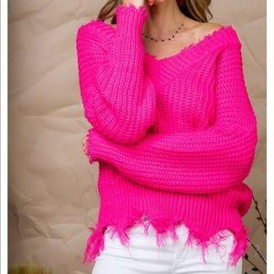 Tops - Frayed V-Neck Sweater